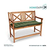 Homeoutfit24 Sun Garden 1-Stück Bankauflage Sylt in Grün Sitzkomfort auf höchstem Niveau, hochwertiges Polsterkissen für Gartenmöbel, 110 x 50 x 7 cm