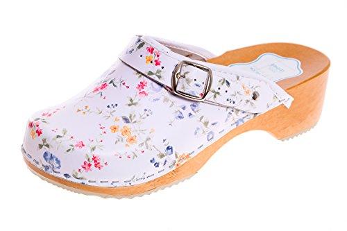 FUTURO FASHION® - Zuecos de Cuero auténtico con Suela de Madera - para Mujer - Colores Lisos Unisex - Tallas 36-42 - Blanco/Flores Azules - 41 EU