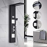 BONADE Thermostat Duschpaneel aus Edelstahl SUS304 LCD Wassertemperatur Digitalanzeige Brausepaneel Massagendüsen mit Regendusche, Handbrause für Badezimmer