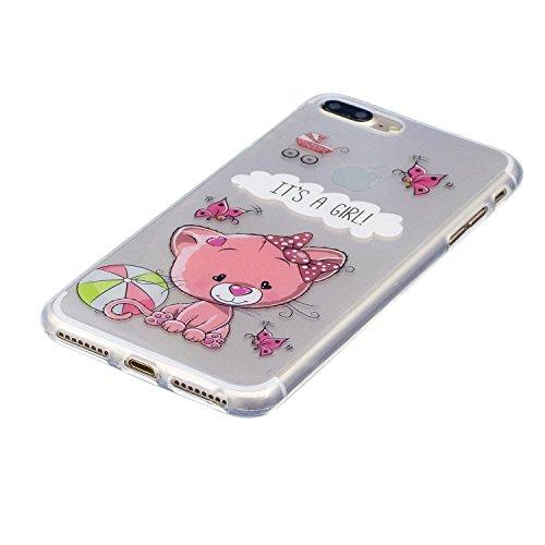 iPhone 7 Plus Hülle, Voguecase Silikon Schutzhülle / Case / Cover / Hülle / TPU Gel Skin für Apple iPhone 7 Plus/iPhone 8 Plus 5.5(Schwarze Katze 08) + Gratis Universal Eingabestift IT'S A GIRL