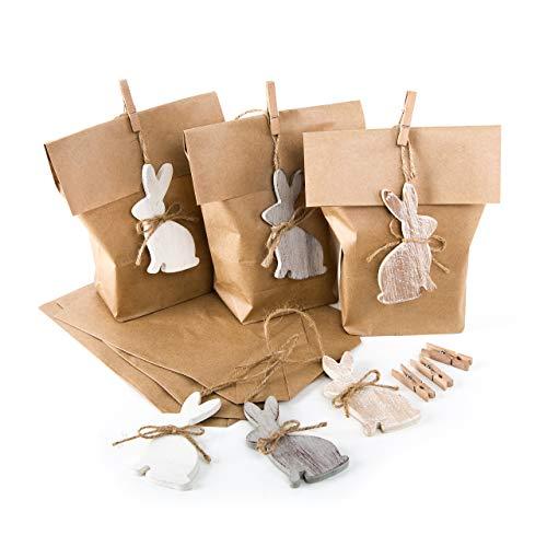 6 x Ostertüte braun natur + Osterhase Anhänger Hänger Holz - Papiertüte 16 x 26 cm Osterverpackung mit Osterdeko als Osterbeutel Kinder Kunden Ostersäckchen (Bio-oster-süßigkeiten)