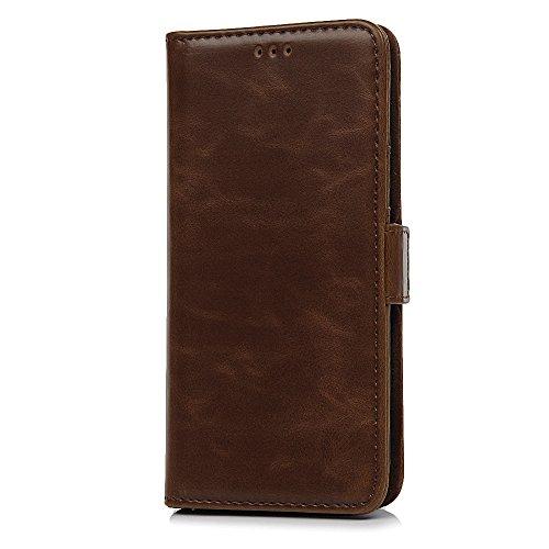 MAXFE.CO Schutzhülle Tasche Case für iPhone X PU Leder Flip Tasche Cover Einfarbig Retro-Stil im Ständer Book Case / Kartenfach Rot Braun