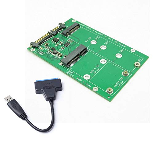 USB 3.0 7 + 15 Pin Festplatte zu mSATA & NGFF M.2 SSD 2 in 1 Combo Mini PCI-E Adapter Konverter Reader Karte mit Kabel - Schwarz - Karte Combo