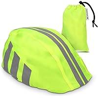 Navaris Funda para Casco de Bicicleta - Protector para Casco de Bicicleta - Cubierta Impermeable Unisex - Visibilidad en Amarillo neón