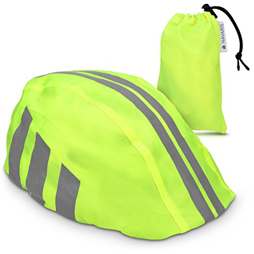 fahrradhelm neon gelb Navaris Helmüberzug Regenschutz für Fahrrad Helm - Helmschutz für Fahrradhelm - Regenüberzug wasserdicht Unisex - Sichtbarkeit in Neon Gelb