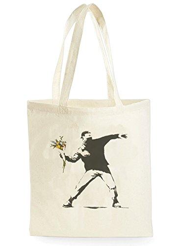 Uk Print King Banksy Flower Thrower Man, Einkaufstasche fürs Einkaufen, Picknick, Zuhause, Lagerung und Schule, tote bag -