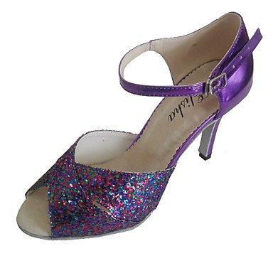 Silence @ latine Sandales pour femme Talon Lady Chaussures de danse Violet