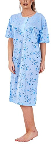 i-Smalls Ladies Nightwear Crew Neck Button Wild Floral Printed Short Sleeve Long Nightie with Lilac Eye Mask