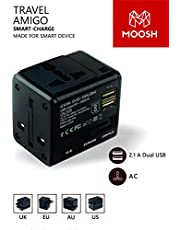 MOOSH International Universal All in One Worldwide Travel Adapter Wall Charger AC Power Plug Adapter with Dual USB 2.1A Charging Ports Compatible in 150 Plus Countries Smartphone and Laptop (Black)