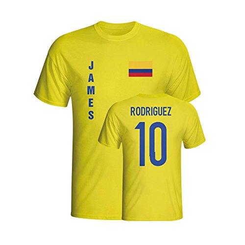 UKSoccershop James Rodriguez Colombia Flag T-Shirt (Yellow)