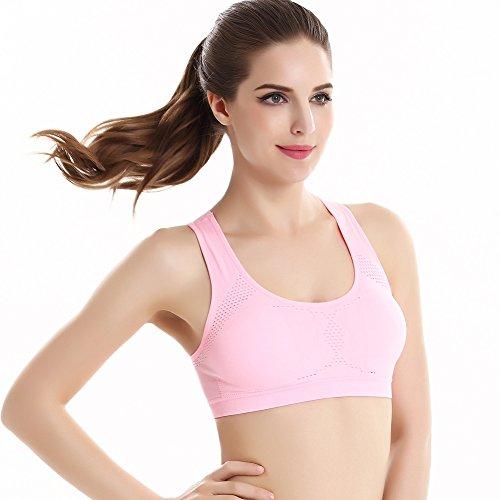 ESHOO Femmes Débardeur extensible sans couture Soutien-gorge Rembourré Racerback Yoga Sport Rose