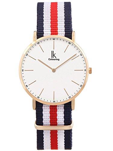 Alienwork Damen Herren Armbanduhr Quarz Rose-Gold mit NATO-Armband blau Ultra-flach Slim-Uhr (Armband Rot, Weiß, Blau,)
