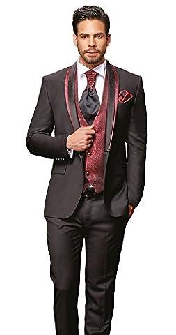Herren Anzug - 8 teilig - Schwarz Bordeaux Rot Designer Hochzeitsanzug TOP ANGEBOT NEU PC_10 (44)