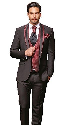 Herren Anzug - 8 teilig - Schwarz Bordeaux Rot Designer Hochzeitsanzug TOP ANGEBOT NEU PC_10 (48) Test