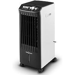 Oneconcept MCH-1 Climatizador • Eficiente de bajo Consumo • 3 en 1: enfría, ventila y humidifica • Móvil con Ruedas y Asas • Regulador 3 Niveles • Potencia 65 W • Flujo 400 m³/h • Negro-Blanco