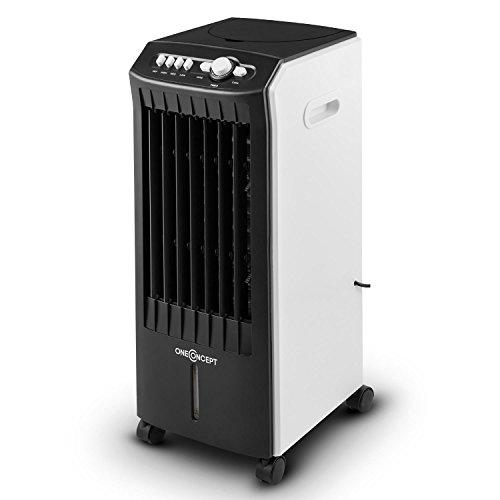 Oneconcept MCH-1 Climatizador Eficiente de bajo Consumo 3 en 1: enfría, ventila y humidifica Móvil con Ruedas y Asas Regulador 3 Niveles Potencia 65 W Flujo 400 m³/h Negro-Blanco