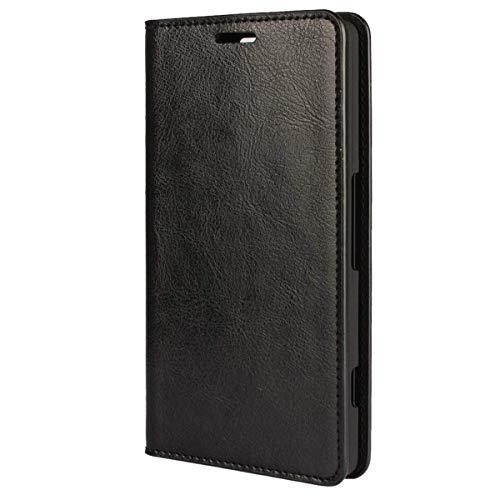 bdeals Flip Elegant Premium Echt Ledertasche Handyhülle Brieftasche Schutzhülle für Microsoft Lumia 950 XL Hülle ,Schwarz