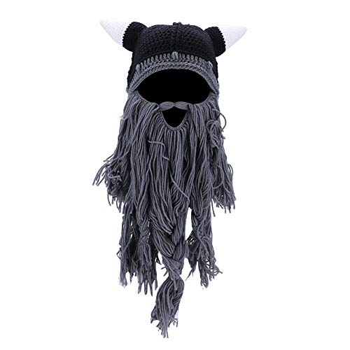 ermütze, Winter Warme Pirat Horn Stil gestrickt häkeln Slouch Baggy Beret Beanie Hat Cap(Grau) ()