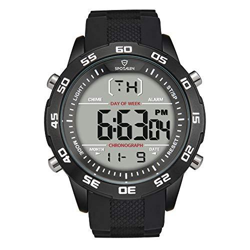 Herrenuhren Digital Sport Waterproof Uhren für Herren Military Stylish Outdoor Backlight Alarm mit schwarzem Silikonarmband
