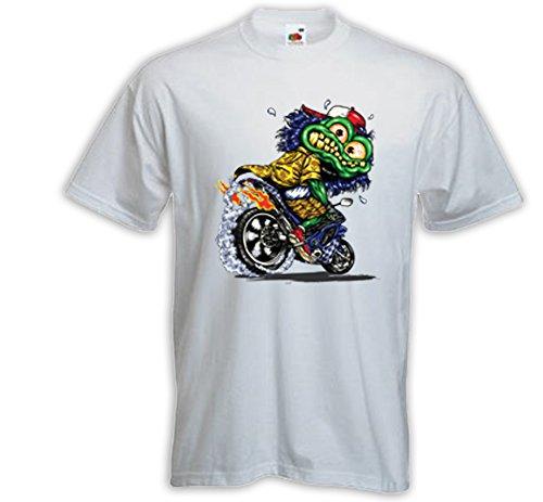 Biker T-Shirt Rat Rod Monster 2 weiß Zündkerze Rockabilly Comic V8 Weiß
