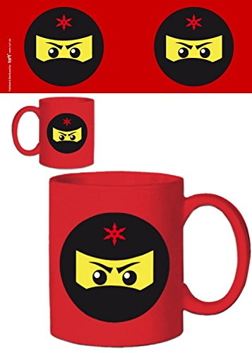 1art1 109093 Gaming Ninja Icon - Taza de café (cerámica), color rojo