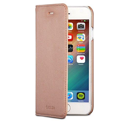 CASEZA iPhone 6 / 6s Kunstleder Flip Case Oslo Rose Gold - Ultra schlanke PU Leder Hülle Ledertasche Lederhülle für Das Original Apple iPhone 6/6s (4.7 Zoll) - Edles Cover mit Magnetverschluss
