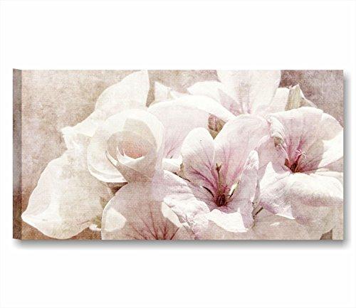 Quadri L&C ITALIA Fiori Vintage 11 | Quadro Moderno Made in Italy Stampa Tela Canvas 90 x 45 | Arredamento Shabby Chic Rustico Soggiorno, Cucina, Salotto, Camera Letto, Bagno | decori Rosa Bianchi