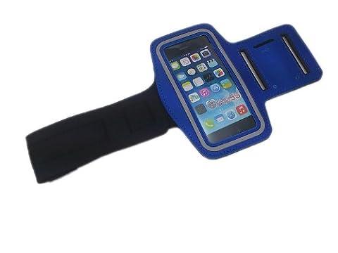 handy-point XXL Armhalter, Sportarmband Armband für Sport / Laufen / Joggen für iPhone 5, 5C, 5S, SE, Huawei P6, P1, LG L40, L3 II, L5 II, L3, L5, L7, Galaxy S3 mini, S, S Advance, S 2/ II, S4 Mini, Trend, Trend Plus, S Duos, Sony Xperia Tipo, Xperia E / E1, J, M, P, S, V, Sony Ericsson X10 Xperia, X12 Arc, Halter für Handy, Halterung für Smartphone, Halter für Arm, Armtasche, Armband, Universell 13,3cm x 7,4cm mit Fach für Schlüssel / Kopfhörer + Reflexstreifen (Blau)