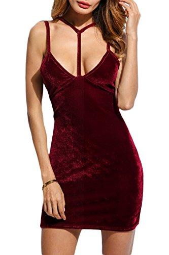 MEXI Damen V-Ausschnitt Bleistiftkleid Business Kleid Retro Abendkleid Bodycon Kleider 32-46 Style 03-Weinrot