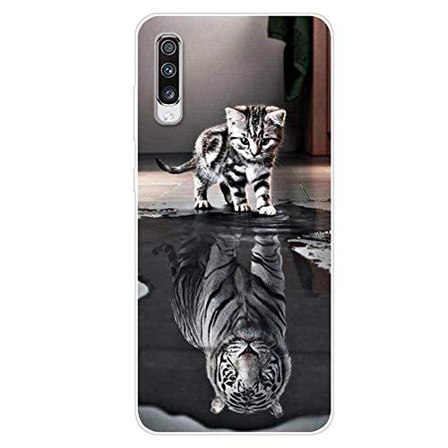 Felfy Kompatibel mit Galaxy A70 Hülle Silikon Transparent Dünn Durchsichtige Schutzhülle mit Cool süß Bunt Motiv Weich Gel TPU Silikon Stoßfest HandyHülle Kompatibel mit Galaxy A70 Cover Case