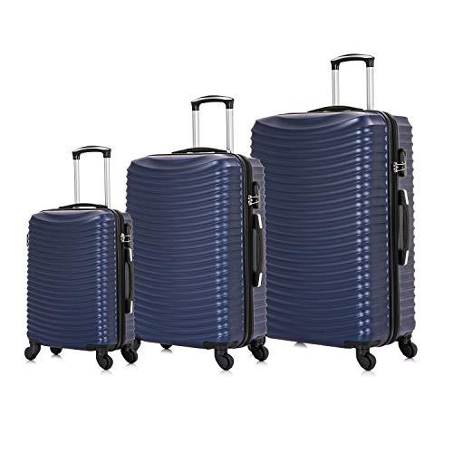 Vallexy Set di valigie Leggera Valigetta con guscio rigido Shell 3 Piece Bagaglio a mano(55X40X20 CM) + Bagaglio medio (65X45X25 CM)+ Bagaglio grande(74X49X29 CM)(20' 24' 28') (Blu)