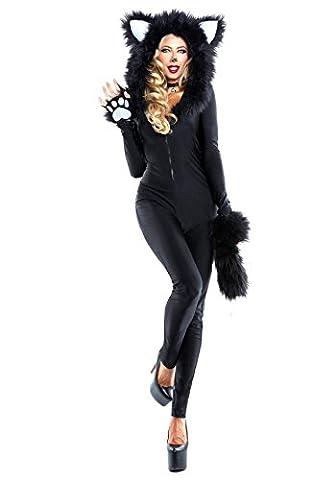 Nihiug Sexy Schwarze Katze Tamper Service Halloween Kostüm Cosplay Panda