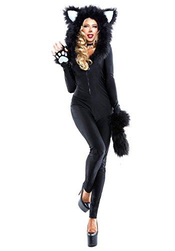 Nihiug Sexy Del Gatto Nero Del Servizio Del Tamper Costume Di Halloween Cosplay Panda Vestito Animale Dell'umorismo Che Copre La Camicia Di Modo Della Camera Da Letto,Black-XL