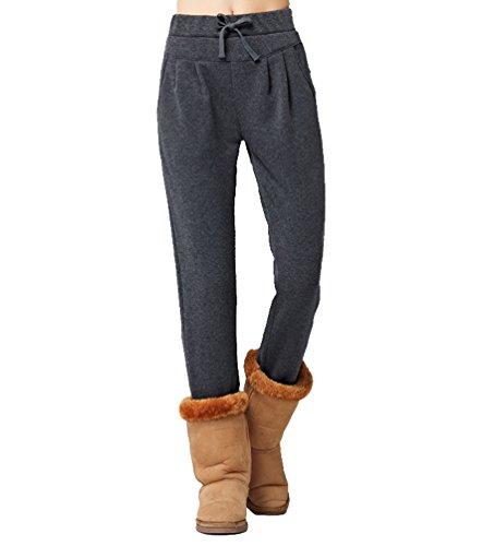 YAANCUN Donne in Alto Alla Vita Regolare Occasionale Harem Matita Pantaloni Cordoncino Vita Termico Pantaloni #Grigio