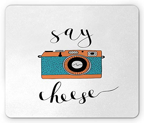 Kamera Mauspad, Say Cheese Schriftzug mit Retro-Maschine Warme Erinnerungen Alte Tage Grafik, Standardgröße Rechteck Rutschfeste Gummi Mousepad, Lachs Teal Schwarz Weiß,Gummimatte 11,8