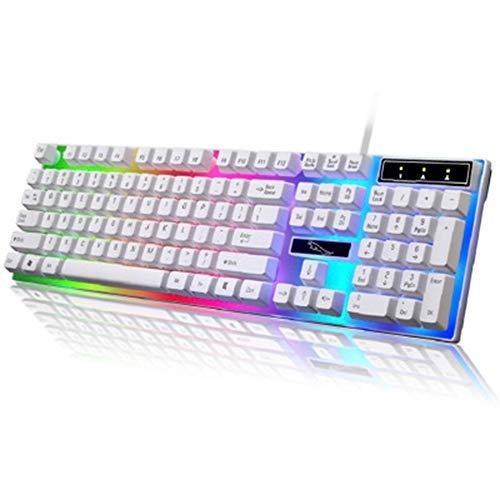YIZHEN Kabelgebundenes Licht USB-Computerspielroboter Feel Color Backlit Notebook Universal Keyboard Cooler Punk-Stil,White - 811 Licht