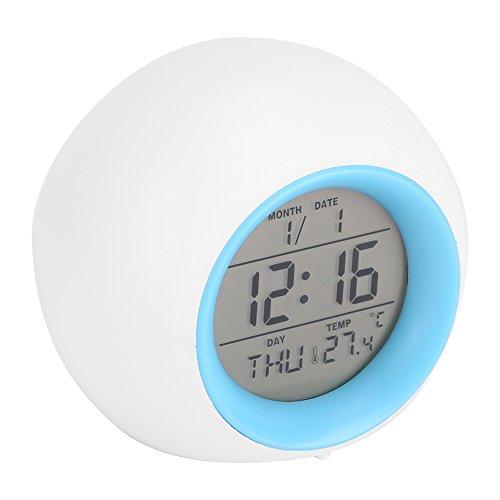 Despertador Digital, Reloj Alarma con Luz de Colores Múltiples y Sonidos de la Naturaleza, Pantalla...
