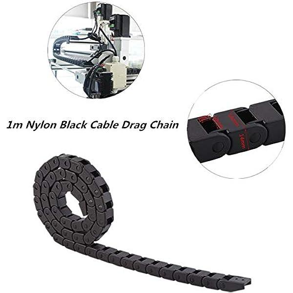 Cable Drag R28 1000mm//40 Black Less Noise Nylon Drag Nylon Wire Cable Drag Chain Carrier Nylon Towline for 3D Printer//Robot//Transportation//Warehouse