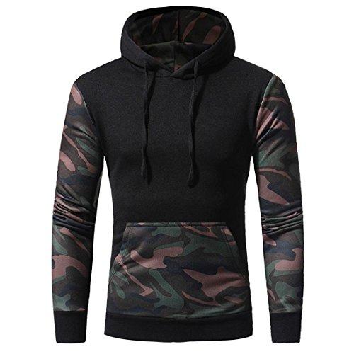 Preisvergleich Produktbild Herren Hoodie Pullover Camouflage Btruely Winter Mode Männer Kapuzenpullover Langarm Mit Kapuze Mantel Männer Hooded Sweatshirt Retro Outwear (M,  Schwarz)