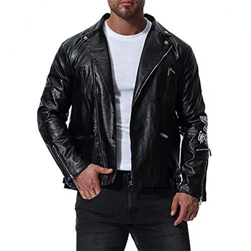 DAFAMOTORBIKE Herren Biker Jacke, Multi-Reißverschluss Leathers Lederjacke Jacke mit Muster drucken Biker Motorrad,XXXXL