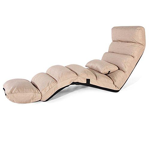 Sofa Stuhl Verlängern Lounge Sofa Bett Falten einstellbare Boden Liege Schlaf futon matratze Sitz Stuhl w/Kissen, (Farbe : Beige) - Metall-futon-matratze