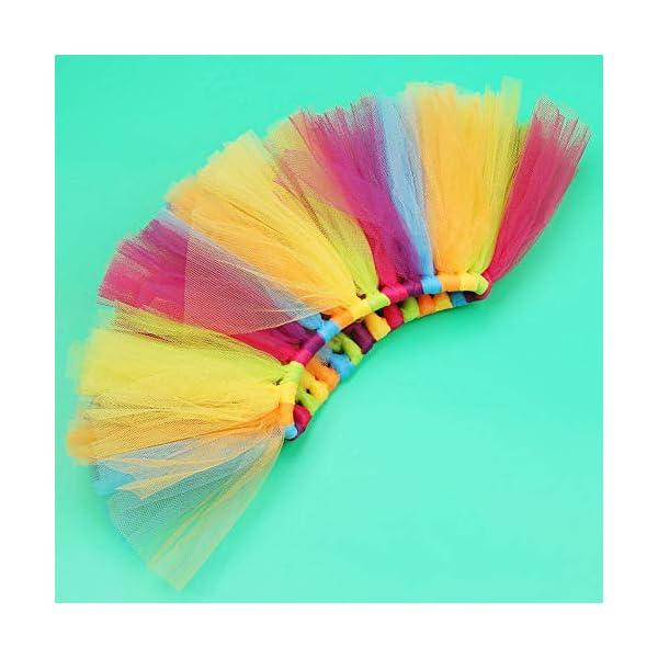 Tutu arcoiris bebé, Infant Pettiskirt Tutu Rainbow Bubble Falda con diadema para 0-6 mes Bebé recién nacido accesorios… 5