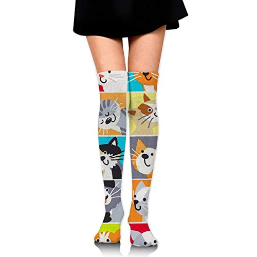 Jxrodekz Knee High Socken Cute Drawing Cat Long Socken Boot Stocking Compression Socken for Women