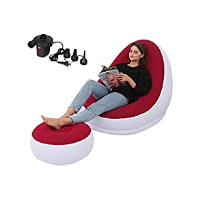 ningxiao586 2-teiliger aufblasbarer Deluxe-Lounge-Sessel mit Fußschemel, Liegestuhl und aufblasbarem Sonnensofa mit elektrischer Luftpumpe, Sonnensofa, Camping Relax Chair, Fußstützenhocker