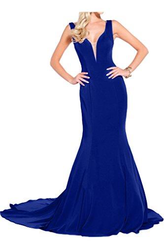 Victory Bridal Hochwertig Breit-traeger V-ausschnitt Abendkleider Partykleider meerjungfrau Bodenlang Schleppe Royal Blau