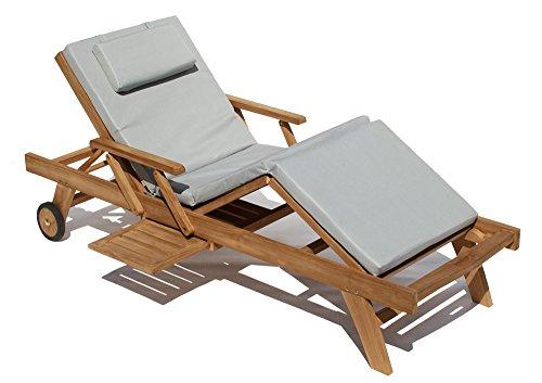 Baltico Teak Holz Liege Gartenliege Sonnenliege 2 Stueck + Auflage Hellgrau4 Taupe
