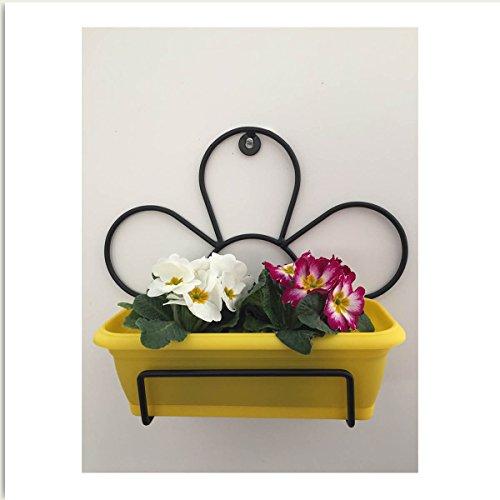 Portavaso da muro margherita in ferro nero con mini cassetta gialla cm.25 pv330/364