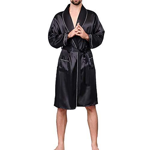 Vertvie Homme Peignoir de Bain Satin Robe de Chambre Kimono Pyjama Manches Longues avec Ceinture Poche Chemises de Nuit(M,Noir)