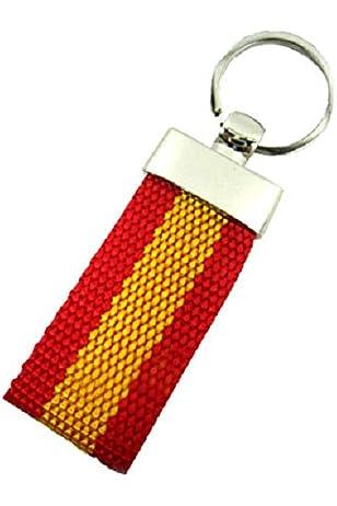 Llavero Lona Bandera ESPAÑA de polipiel | Con accesorios de ...