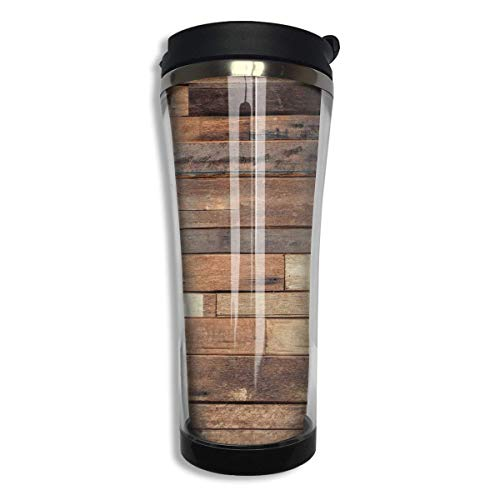 Print Insulated Travel Mug (Tumbler Travel Mug Rustic Floor Planks Print Insulated Both Cold & Hot Coffee Mug 14 Oz (420 ML))